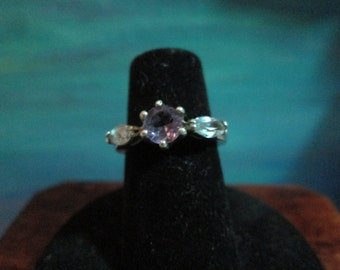 Sterling Silver Ring with  Amythist and Lt Blue  Stones