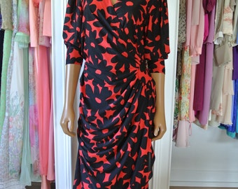 1980s Dress by Darcy Sheath Wrap Black and Red Daisy Print Day Dress /M