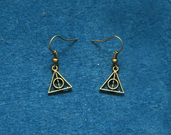 Mini Wizard symbol earrings Harry Potter inspired deathly hallows