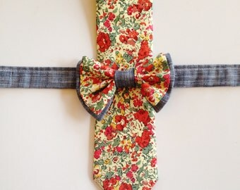 Father Son Tie Set, Gift For Dad, Matching Father Son Ties, christmas ties, holiday tie set, red children's bow tie, liberty of london