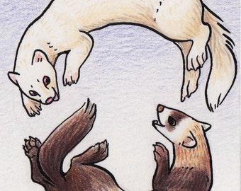 Original ACEO Ferrets