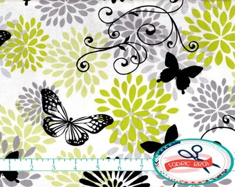 LIME & GRAY Fabric by the Yard, Fat Quarter BUTTERFLY Fabric Glamour Girl Fabric Quilting Fabric 100% Cotton Fabric Apparel Fabric a1-40