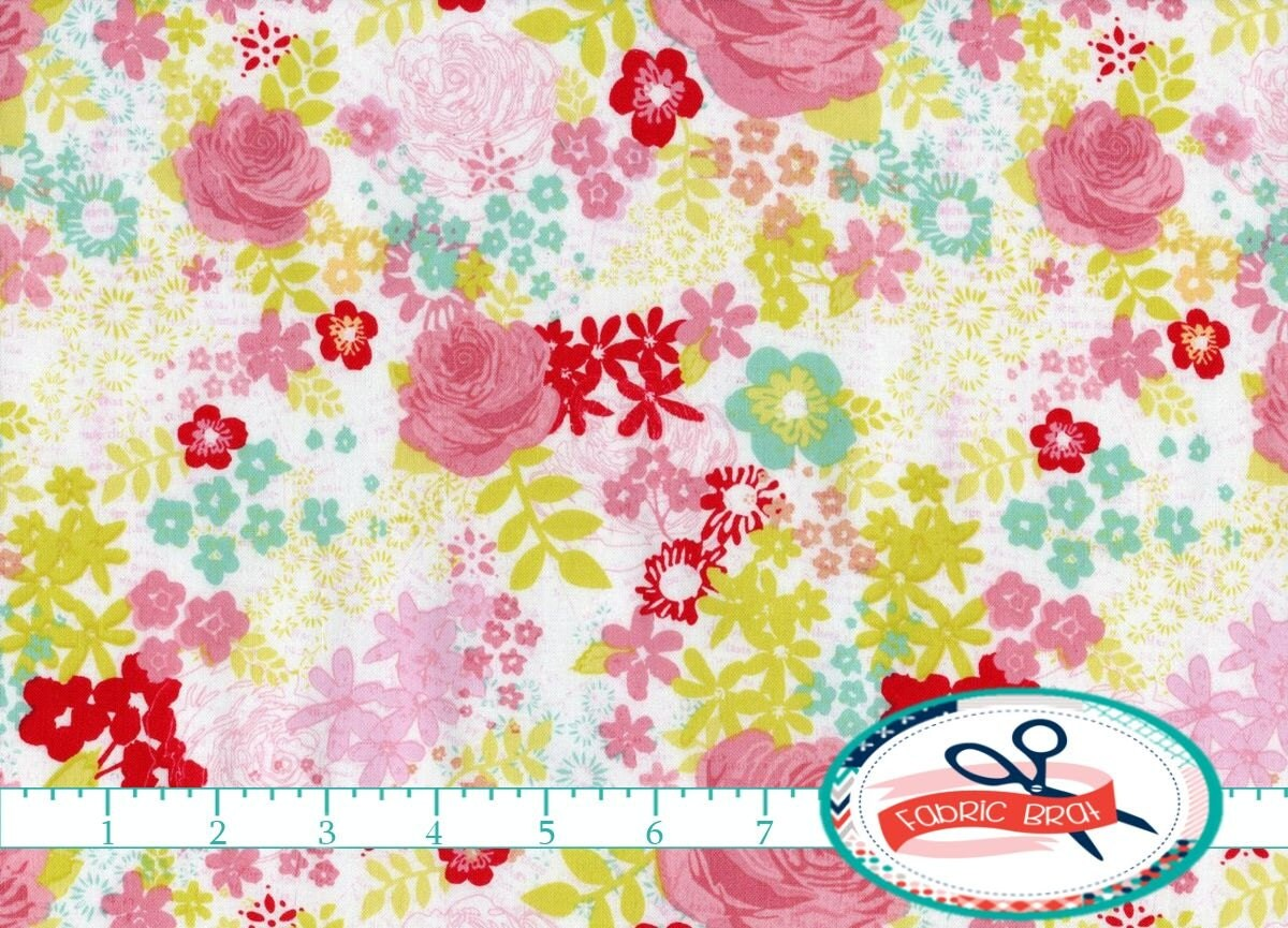 Shabby chic fabric by the yard fat quarter pink by fabricbrat for Shabby chic yard