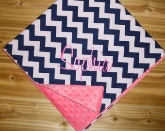 Minky Baby Blanket - Medium Navy Chevron with Hot Pink Minky - Custom Monogram