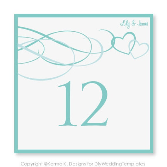wedding table number card template download by karmakweddings