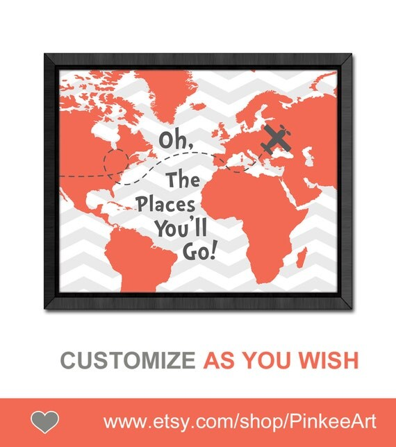 Dr seuss quote print aviation nursery oh the places you will go map