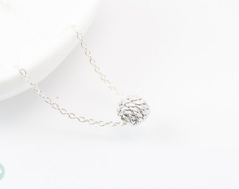 Knot necklace, silver knot, silver necklace, silver knot necklace, ball necklace, cute necklace, knot charm, silver knot