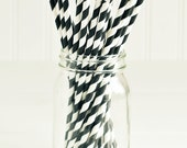 Paper Straws in Black & White Stripes - Set of 25 - Cute Fun Unique Pretty Wedding Birthday Party Shower Accessories Decor