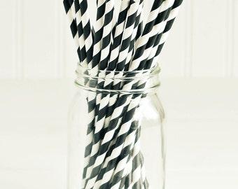 Paper Straws in Black & White Stripes - Set of 25 - Cute Fun Unique Pretty Wedding Birthday Party Shower Accessories Decor