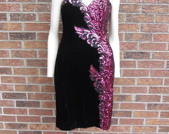 Vintage Black Velvet Dress with Pink Sequins By Alyce Designs