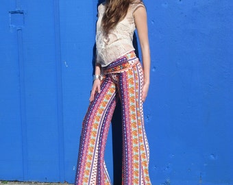 SPRING FLORAL STRIPE pink purple range flare leg bell bottom fashion gypsy hippie retro festival yoga beach lounge pants