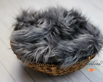 STOREWIDE SALE - Smokey Gray - Faux Fur Photography Prop Soft, Cozy, Cuddly Faux Fur Nest Newborn Posing Photography Prop, Stuffer, Layering
