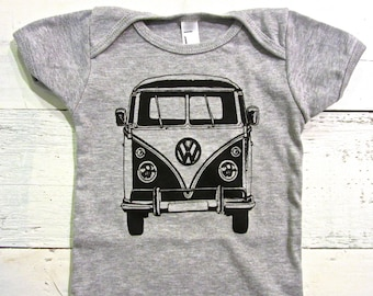 VW van baby one piece bodysuit. VW van one piece. Vintage print.Hippie print. HANDDRAWN.