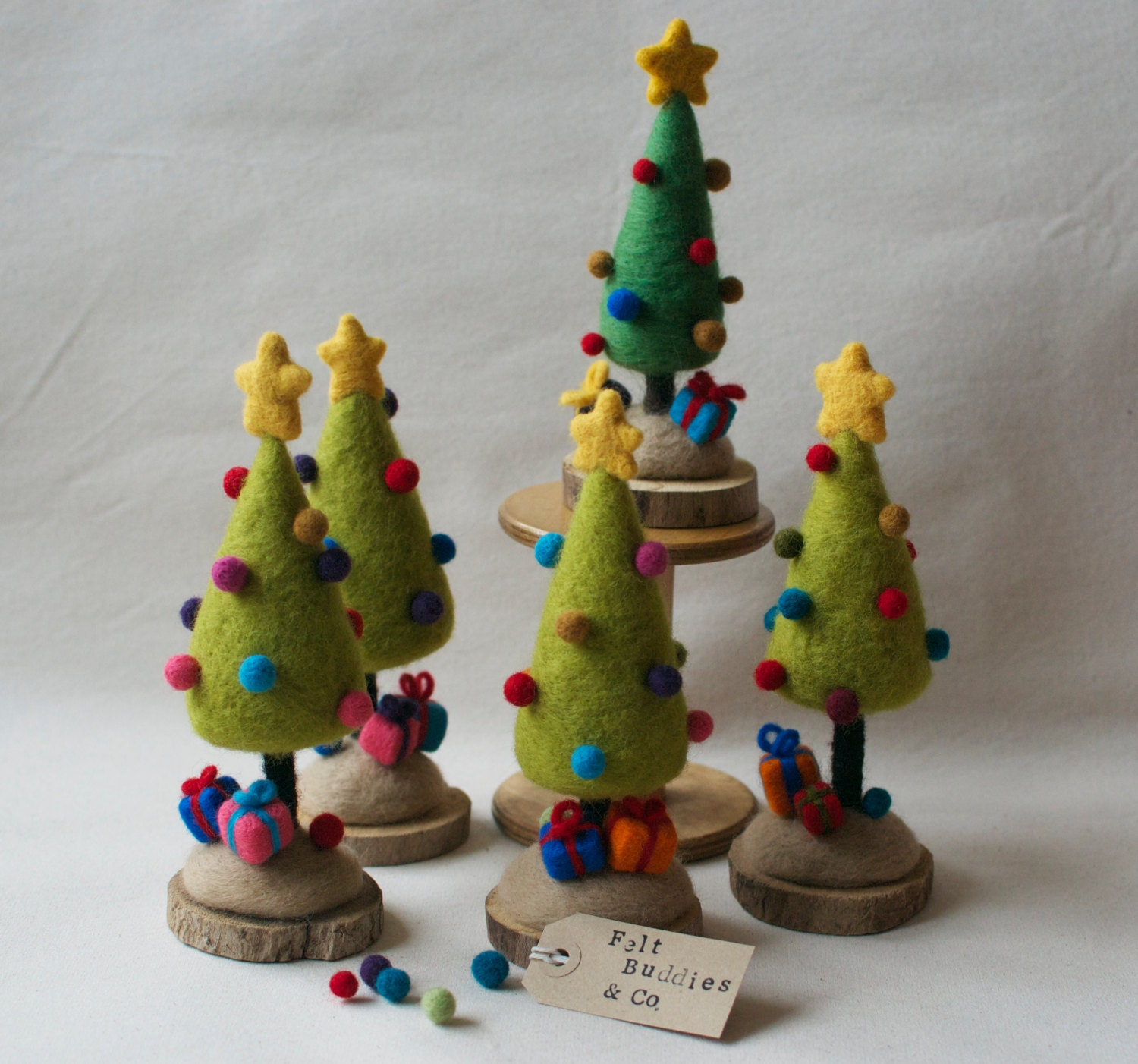 mini christmas tree needle felted home decor present idea. Black Bedroom Furniture Sets. Home Design Ideas