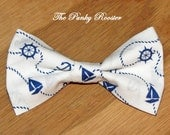 Nautical Bow TIe, Beach bow tie, clip on bow tie