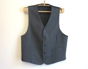 Grey Striped Mens Vest Formal Waistcoat Gentlemen's Steampunk Vest Extra Large Size