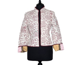 KANTHA JACKET - Small - Short style - Size 8/10 - Off white with brown. Reverse aubergine and pink