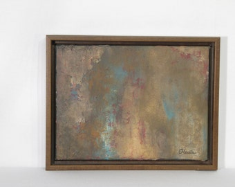 Original painting, abstract art, acrylic on canvas, textured, natural colors, rusty look, 9'' x 12''