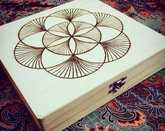 Seed of Life Hand Burned Crystal Grid Template Board and Stone and Crystal Storage or Jewelry Box Sacred Geometry