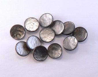 12 - 18 mm Plastic Grey Buttons -  Dark Grey Shank Buttons - Vintage Pearly Buttons - Grey Sewing Buttons -  Craft Buttons #GR-03-27