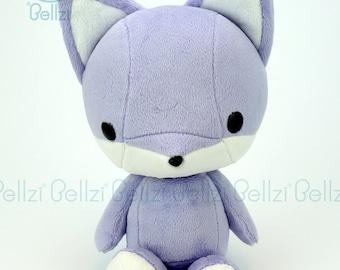 "Bellzi® Cute ""Purple"" w/ White Contrast Fox Stuffed Animal Plush - Foxxi"