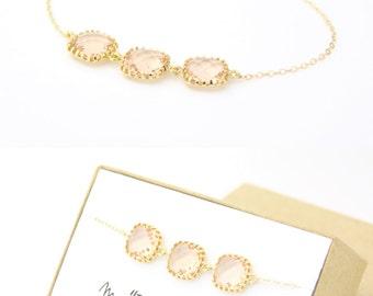 Peach Champagne / Gold Triple Square Bracelet - Peach Jewelry - Champagne Bracelets - Delicate Bracelet - Peach Bridesmaid Gift - Gift - BS2