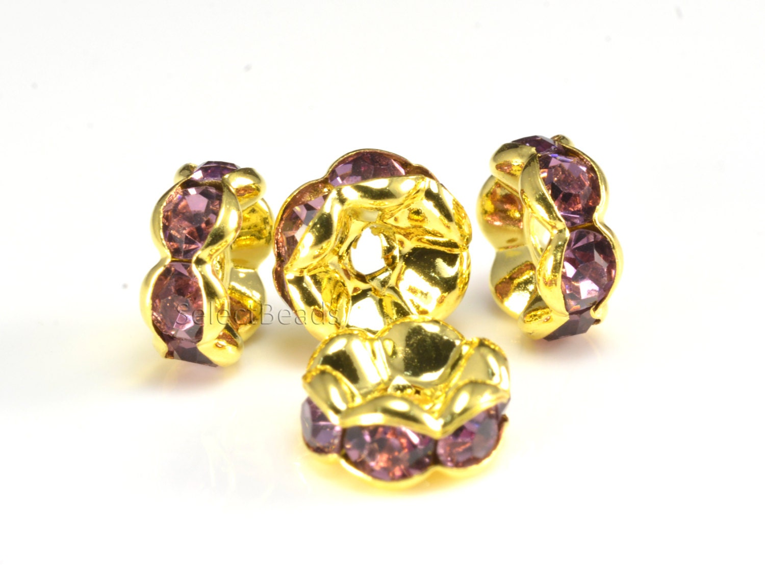 Rhinestone copper spacer bead yellow gold plated violet for Craft and jewelry supplies