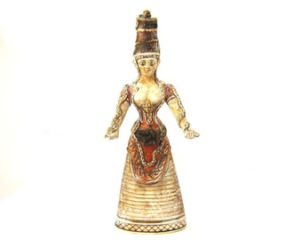 Minoan Goddess of Snakes , Crete statuette of Mother of Snakes , Goddess Statue , Minoan ,Crete civilization