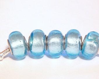 1x Murano Light Blue Foil Glass Beads -Blue Foil Bead - Large Hole - Fit European Charm Bracelet and Necklace - A37