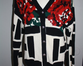 Vintage black and white sweater with roses