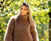 Hand Knitted  Mohair Sweater BROWN Mix Fuzzy Turtleneck Jumper Pullover Jersey MADE to ORDER
