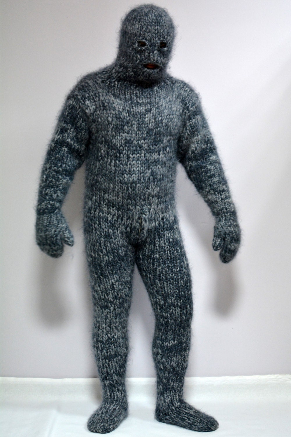 Hand Knit Mohair Catsuite Sweater Massive Mix Gray Fuzzy