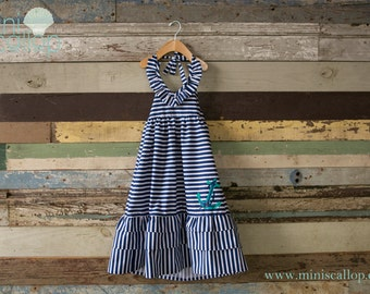 Girls Toddler Nautical Anchor Stripe Sailor Maxi Dress, Child Dress, Kids Maxi Dress, Children Nautical Dress, Baby Toddler Maxi Dress