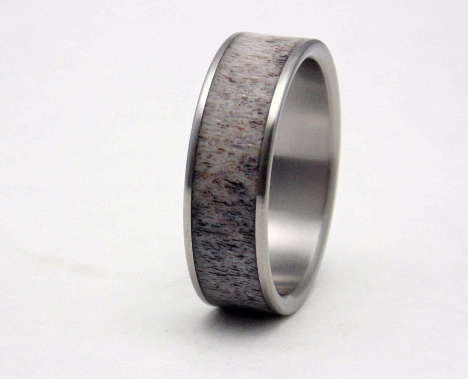 Mens Titanium And Antler Inlay Wedding Band Rustic Antler