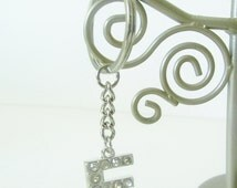 E Initial Keychain - Rhinestone Name Keychain - Personalized Name Keychain - Small Personalized Gift for Her - Handmade Nickel Free Keychain