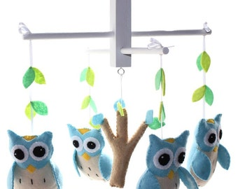 Blue Owl Mobile - Woodland Owl Nursery Mobile
