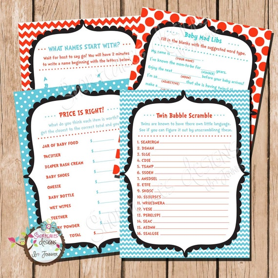 thing 2 twins baby shower games cat in the hat game package