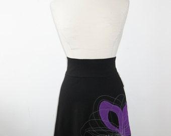 Skirt - Women - Waisted skirt - Above the knee skirt - Jersey skirt - Casual skirt - Day or evening skirt - Flower skirt PÉ14 Purple