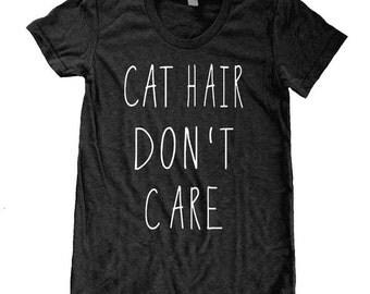 Cat Hair Don't Care American Apparel Tri Blend screenprint Track Tee Shirt
