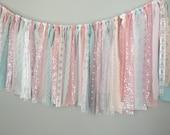 Pink & blue pastel with Iridescent  Sequin Fabric Banner Garland - Backdrop, Baby Shower, Photo Prop, Nursery, Crib Garland, Cake Smash