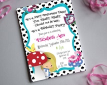 Alice 02 BIRTHDAY-Printable Invitation-Print Yourself-INSTANT DOWNLOAD-Editable File-Alice In Wonderland-Cheshire Cat-Birthday-Party