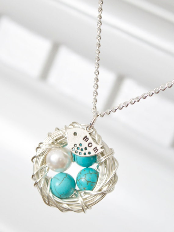 Miscarriage necklace for mom nest necklace with beads for like this item aloadofball Choice Image