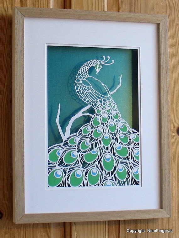 Papercutting template a4 3 colour peacock diy kit for Wall art templates free