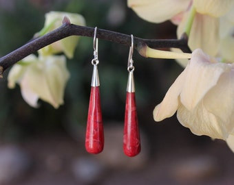 Coral Earrings, Sponge Coral earrings,Red earrings, Balinese Earrings , Red coral earrings RIEA046