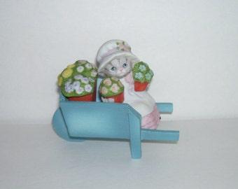 Vintage Schmid Kitty Cucumber in Flower Wagon Figurine