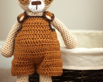 Crochet Amigurumi Bear Toy with Overalls - Tomel - Ready to Ship