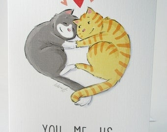 Love Kitties / Card with envelope / blank inside / happy cute cats hearts / snuggle / Valentine / original art by Kathe Keough