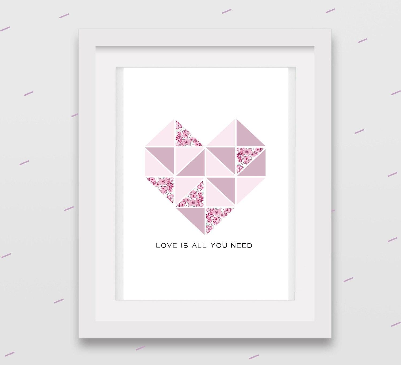 Quadretto con cuore a triangolini stile nordico di arrivalacicogna