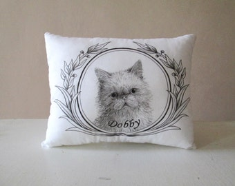 Personalized cat portrait pillow gift idea for cats lovers hand painted tribute beloved pet custom message memory cushion