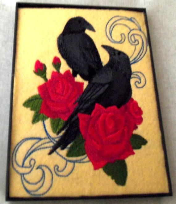 Items similar to home decor raven rose embroidery picture for Pagan decorations for the home